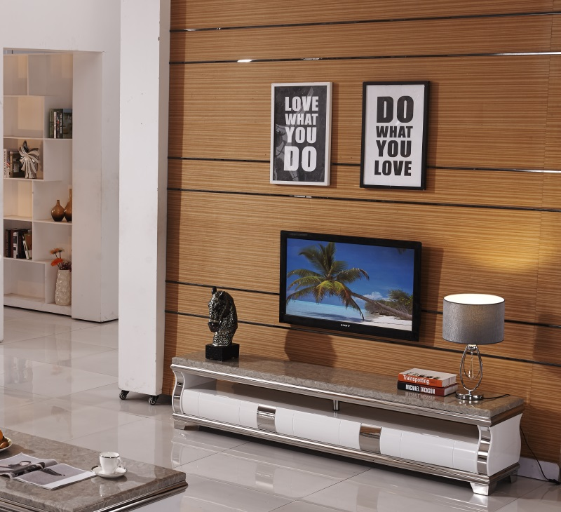 Natural Marble Stainless Steel TV Stand Modern Living Room Home Furniture Tv Led Monitor Stand Mueble Tv Cabinet Mesa Tv Table