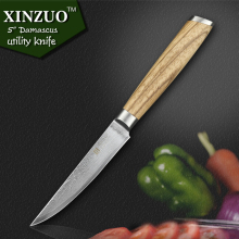 XINZUO 5″ inch utility knife Damascus steel kitchen knives paring cutter kitchen tool damascus steel utility knife FREE SHIPPING
