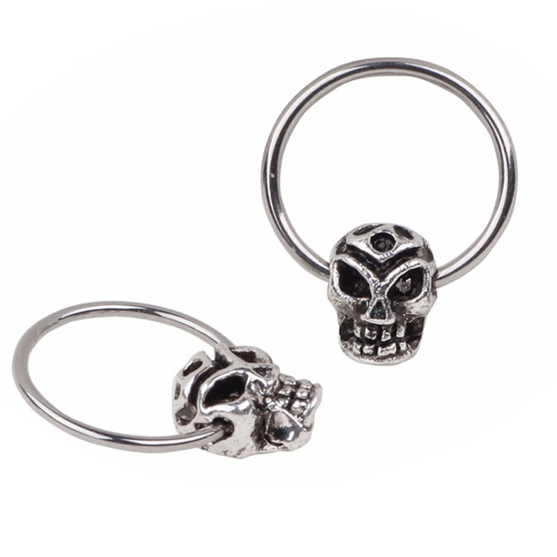 316L Stainless Steel Leaf Style Skull Septum Hoop Clicker Ring Nose Ring Piercing Jewelry body jewelry