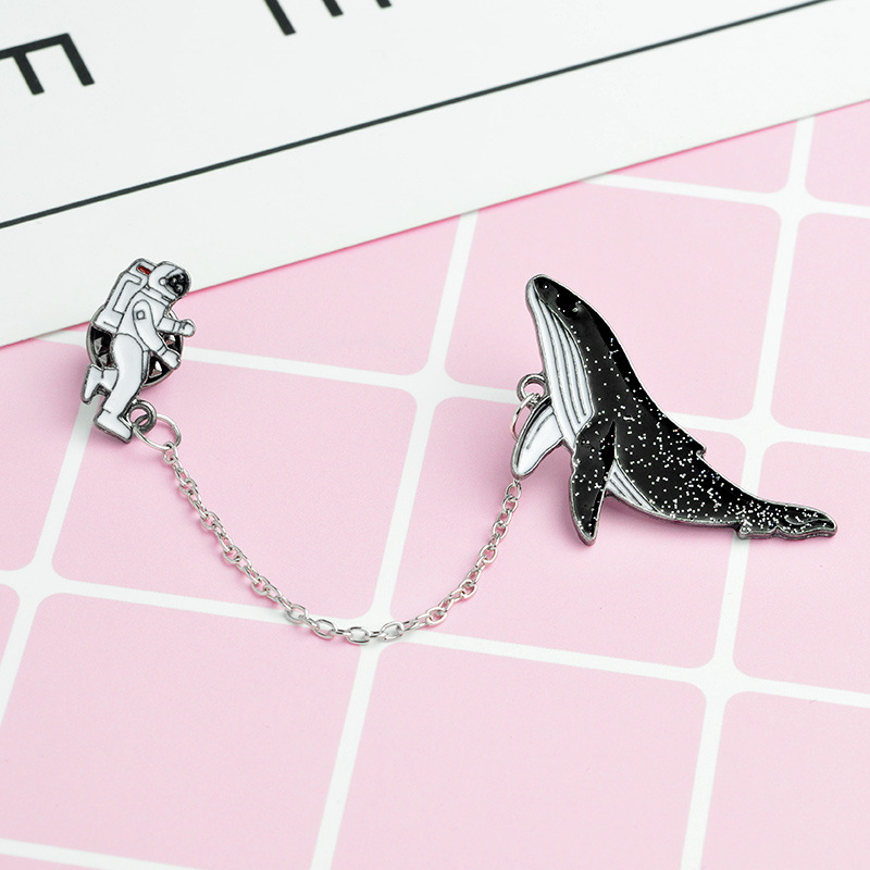 2018 Cartoon pins Astronaut And <font><b>Whales</b></font> enamel Pins coat cap backpack Pin Buckle Shirt Badge Fashion Gift for Friend jewelry image