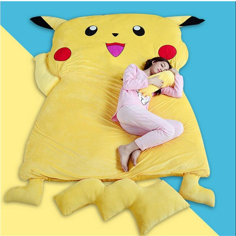 Fancytrader  Anime  Pikachu Sleeping Bag  Cartoon Mattress Giant Pikachu Double Bed Cushion Plush Memory Foam Tatami