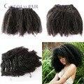 Bonito curly grampo na extensão do cabelo humano cabeça cheia 7a + mongolian virgem afro kinky curly grampo em extensões do cabelo 100 g/set