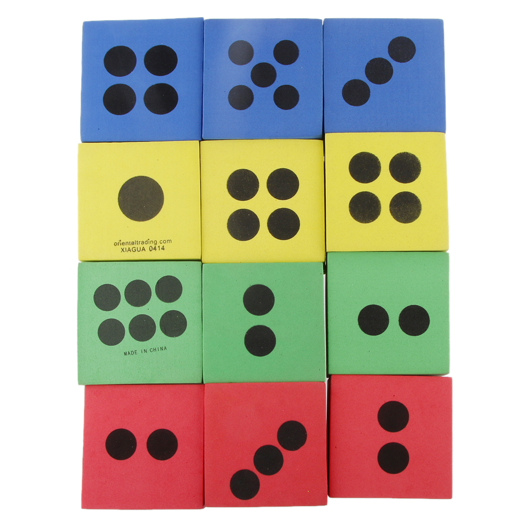 New 12pcs 2.5inch Foam Playing Dice Kids Educational Learning Teaching Toys Funny Teaching Toys Christmas Gifts for Children