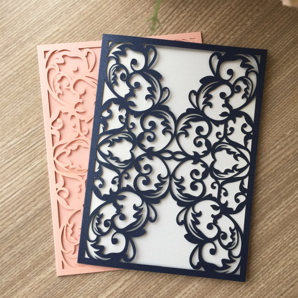 Us 37 89 45 Off 50pcs New Design Royal Pink Wedding Invitation Card With Laser Cut Pearl Shimmer Paper Craft Design For Wedding Decoration In Cards