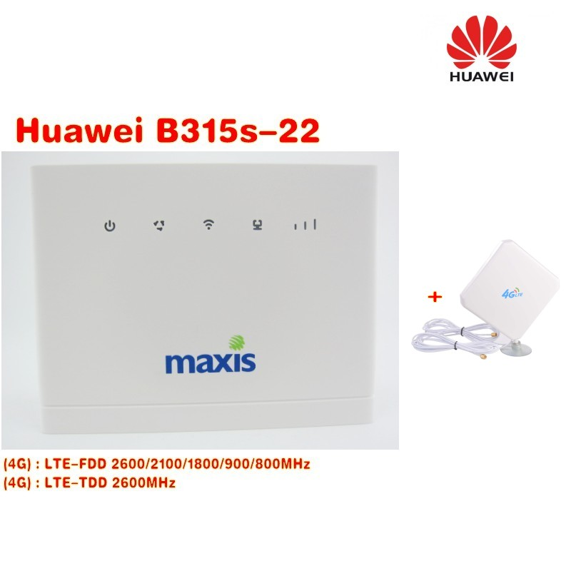 Set of Brand New Original Unlock 150Mbps HUAWEI B315 4G CPE Router With RJ45 RJ11 And USB Port +49dbi 4g SMA antenna