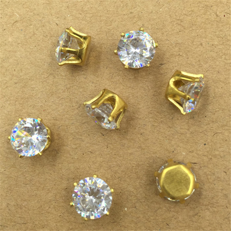 8mm Silver Gold Antique Bronze Fashion Round Crystal Crystal Rhinestone Zircon Set Auger DIY Jewelry Making