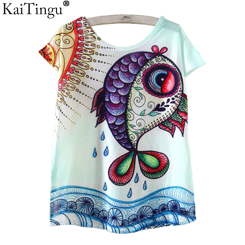 Kaitingu novelty t shirt verano harajuku kawaii lindo de los pescados animales P
