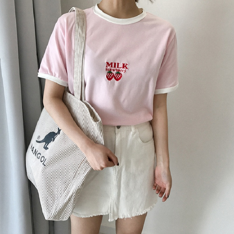 2017 WomenS Punk Harajuku Ulzzang Cartoon Embroidery Japanese Vintage T Shirt Female Korean Kawaii Cute Tee And Top For Women In Shirts From Womens