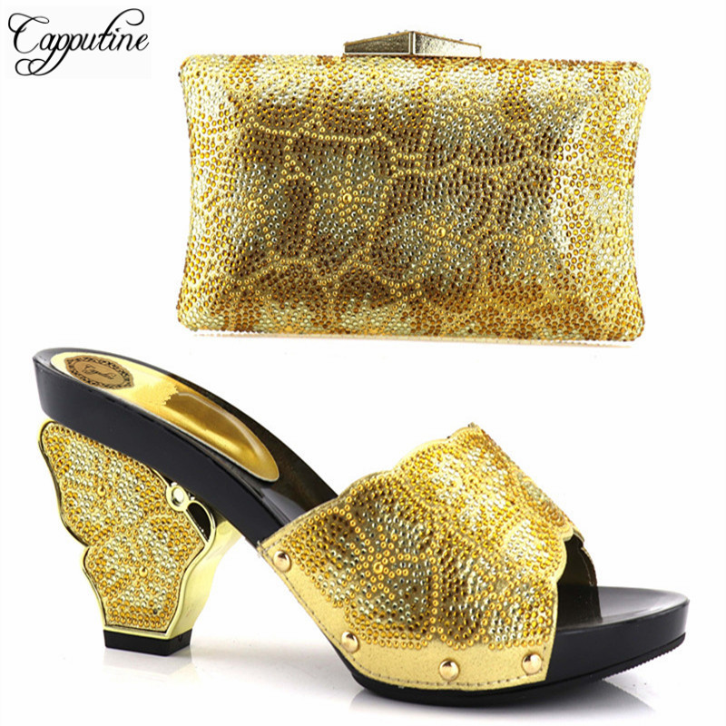 Capputine Gold Color Italian Matching Shoes And Bag Set Decorated With Rhinestone Nigerian Women Wedding Shoes And Bag Set все цены