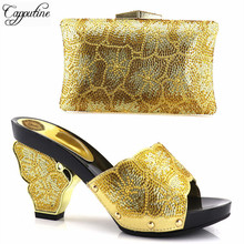 Capputine Gold Color Italian Matching Shoes And Bag Set Decorated With Rhinestone Nigerian Women Wedding Shoes And Bag Set