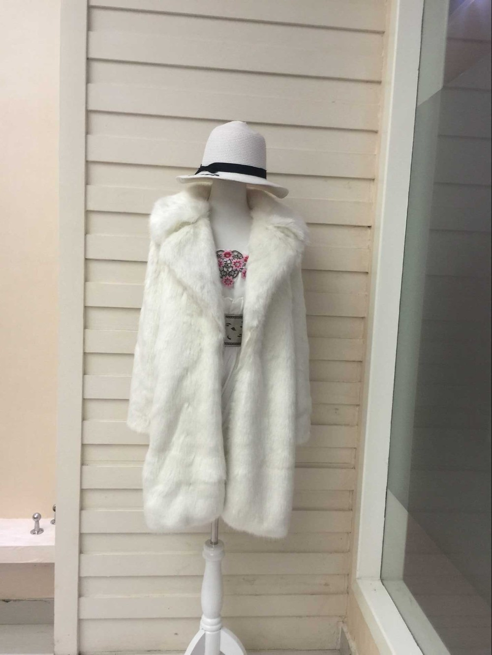 Renard Blanc Imitation Fille Fourrure Manteau Mode 2018 rose Nouvelle Long tpUwq8