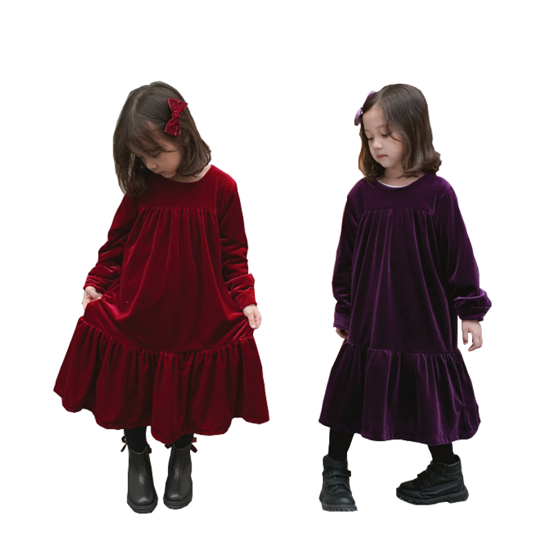 WLG girls winter dresses kids velvet fashion dresses for girls baby wine red purple long sleeve thick dress children clothesWLG girls winter dresses kids velvet fashion dresses for girls baby wine red purple long sleeve thick dress children clothes