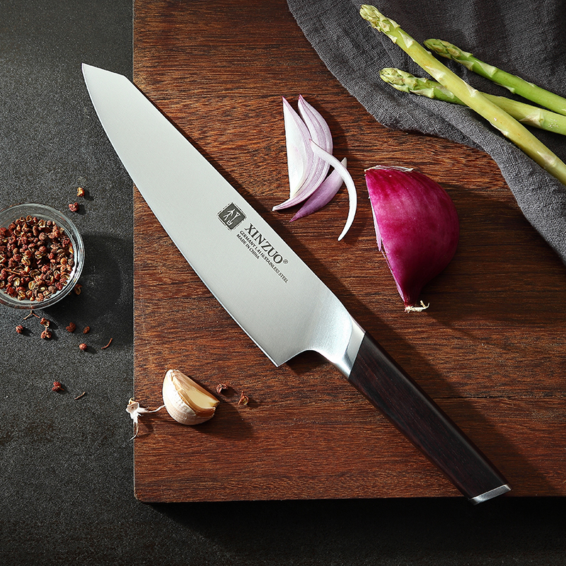 XINZUO 8'' Chef Knife German Stainless Steel Professional Knife New Arrival Butcher Cleaver Santoku Vegetable With Ebony Handle