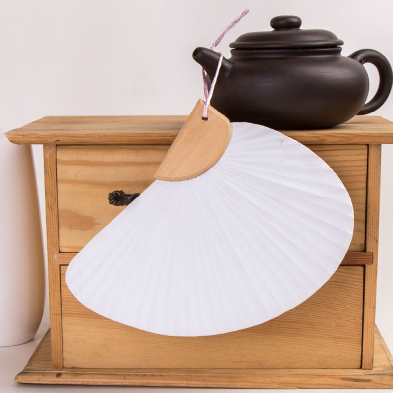 New 5 Types Solid Double Sided Blank Paper Fans DIY Handcraft Painting Decorative Fan Wedding Celebration Birthday Party Gift(China)