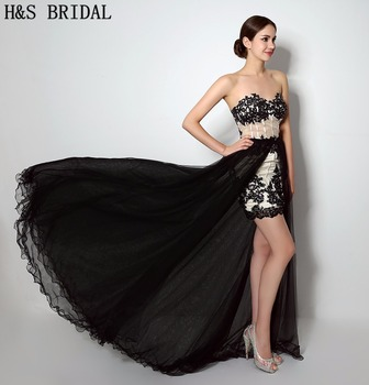 H&S BRIDAL Sweetheart Lace Applique Beaded 2 piece prom dresses Detachable Train two piece Short prom dress Black Evening Gown