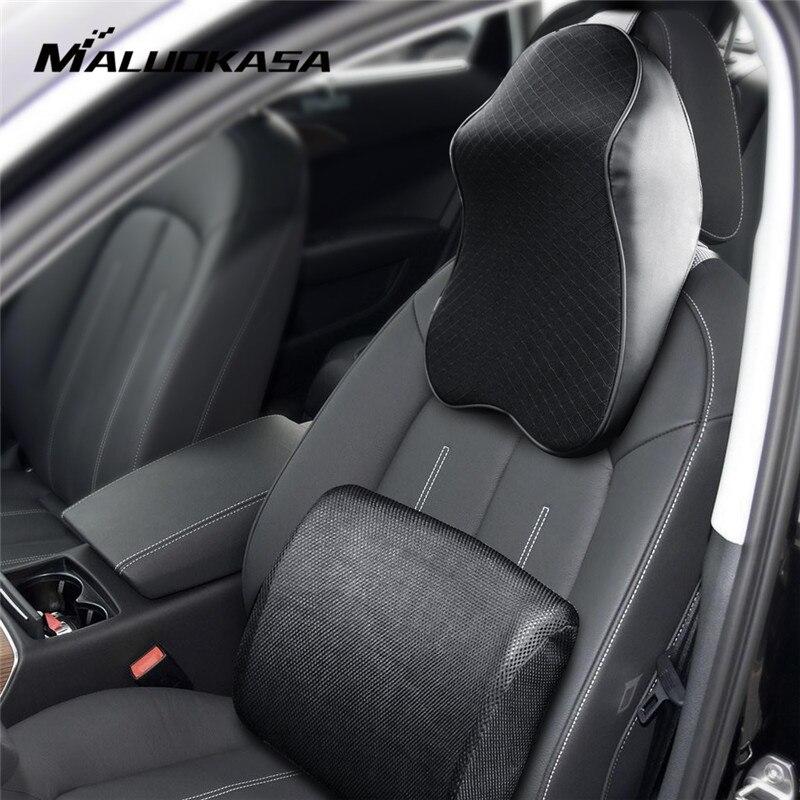 Car Seat Cushion Leather Neck Pillow Universal 3D Memory Cotton Headrest Lumbar Support Waist Warm for Winter Car Accessories