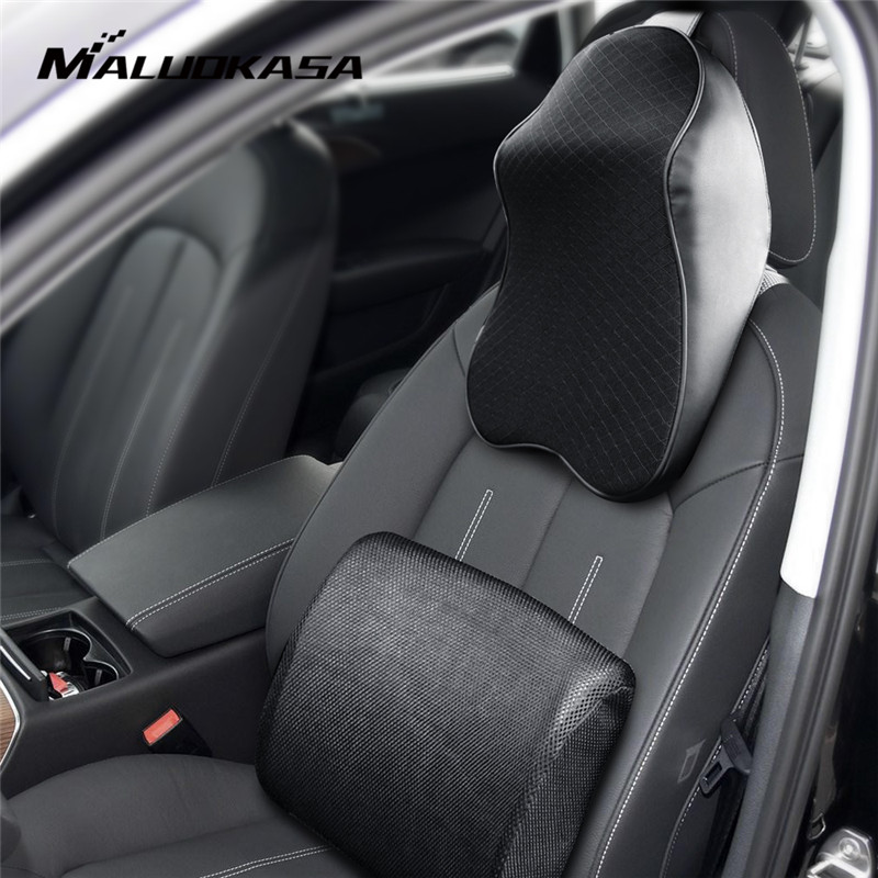 цена на MALUOKASA 1Set PU Leather Universal 3D Space Memory Cotton Neck Car Headrest Lumbar Support Neck Waist Pillow for Auto Car Seat