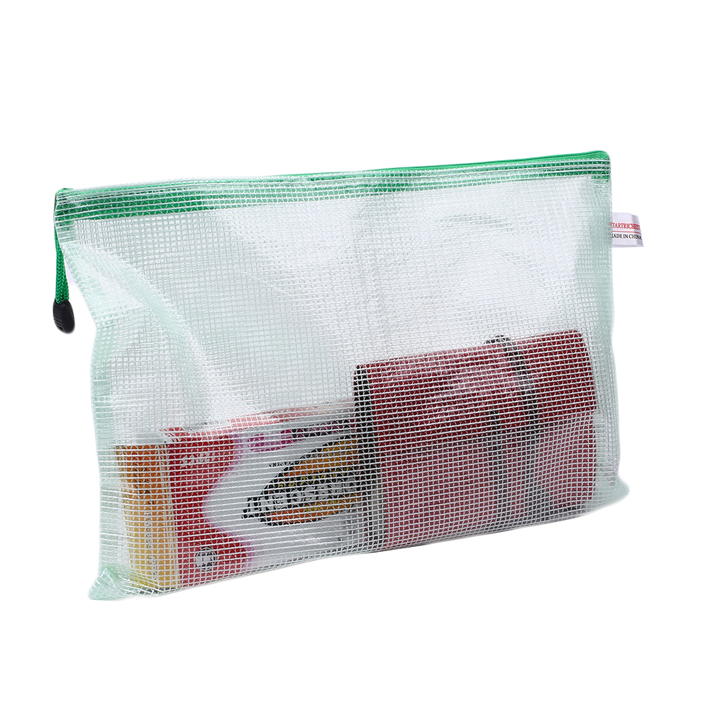 A4 Transparent Grid Zipper Storage Soft File Document Holder Bag Packet