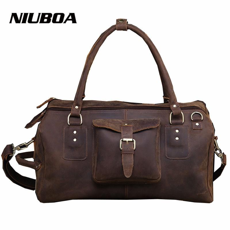 Genuine Leather Bag 100% Cowhide Top Quality Casual Men Travel Handbags Men Crossbody Mens Travel Bags Laptop Briefcase Bag