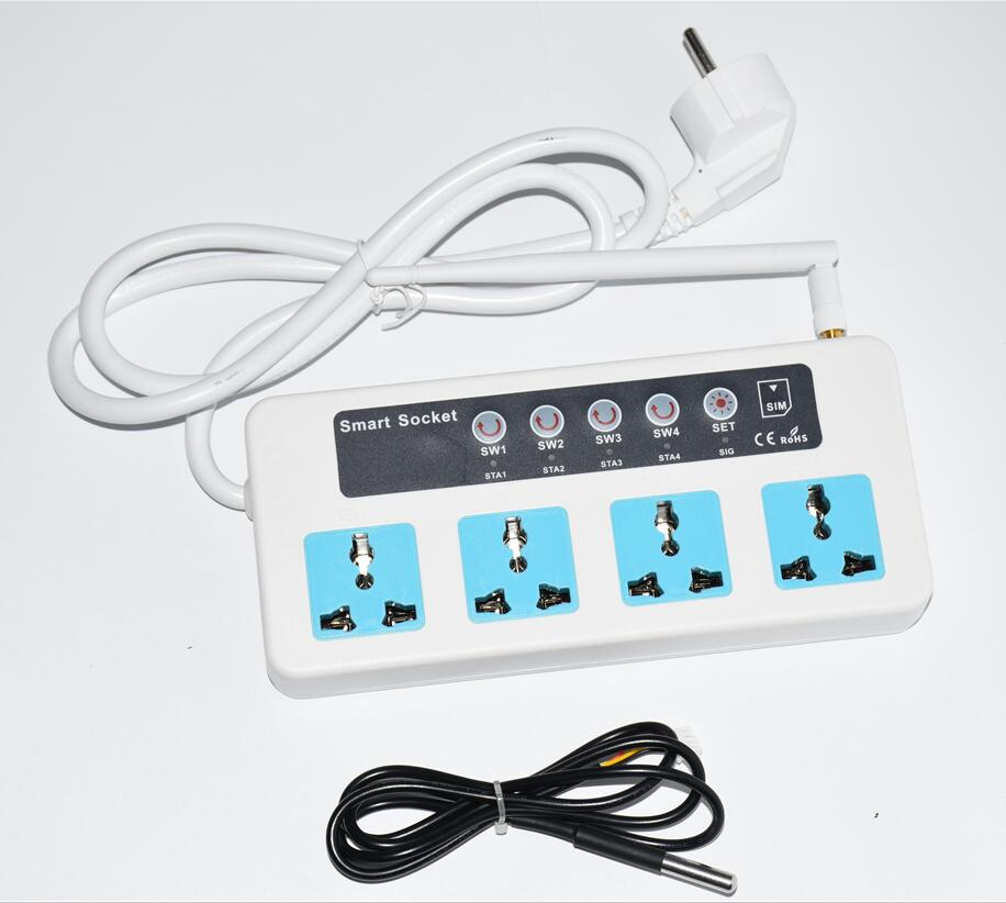 LPSECURITY With Temperature Sensor Remote Control GSM PHONE POWER POWER STRIP CURRENT LIGHT For Industrial Home Smart Socket