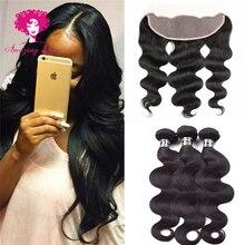 Brazilian Virgin Hair 7A Brazilian Body Wave With 13*4 Lace Frontal Closure 3 pcs Mink Brazilian Hair with Closure Stema Hair
