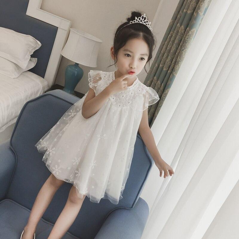 Girls Dress Princess Lace Short sleeved Summer Children's Wear Children Sundress Veil Little Girl Dress