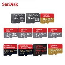 بطاقة الذاكرة الذكية الأصلية سانديسك مايكرو SD 16GB 32GB 64GB 128GB 200GB 256GB MicroSDHC/SDXC UHS I الترا C10 TF C4 16G 32G