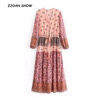 Bohemian Open Button V neck Location Floral Print Dress 2018 Ethnic Woman Long Sleeve Lace Up Maxi Long Dresses Beach Holiday