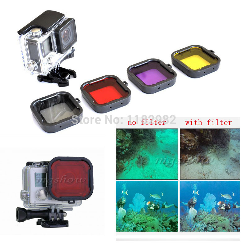 4pcs/set 4-in-1 Converte Diving Filter Lens Filter Red Polar Filter Lens GoPro HD Hero 3+ 4 Scuba Diving Tropical Water Sea ...