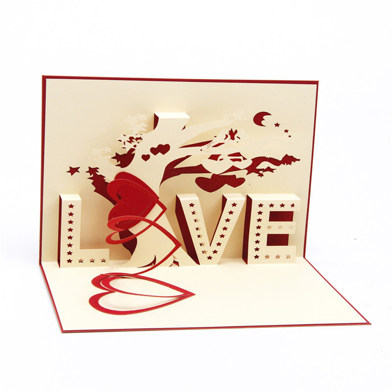 1PCS 3D card creative love Valentines day Greeting cards Hollow out design tree of love birthday blessing card postcard HK-7