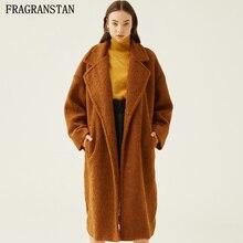 Las mujeres de invierno de piel de oso de peluche Plus tamaño larga de  Color sólido abrigos de piel de mujer de moda de la marca. c259c8a4b5de
