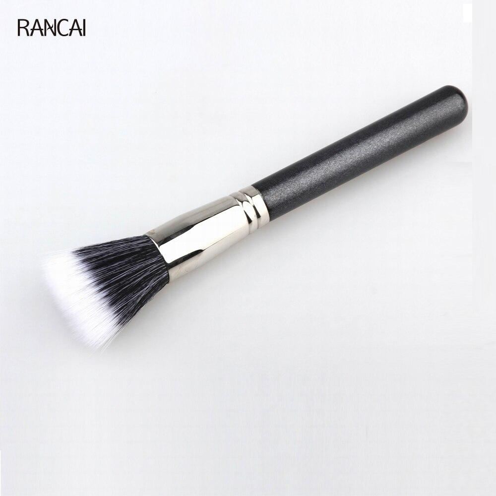 RANCAI 1pcs Powder Brush Full Size Skin Care Black Duo Fiber Stippling Brush Make Up Tools Face brush