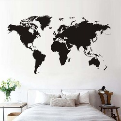 Atlas World Map Wall Sticker Black Printed Bedroom Decorative Removable Adhesive Vinyl Wall Decal Creative Home Decor