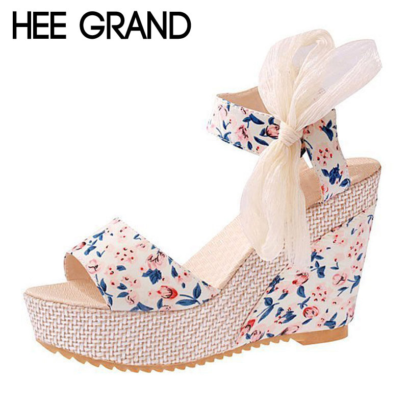 HEE GRAND Floral Wedges Sandals Summer Platform Gladiator Sandals 2017 NEW Shoes Woman Casual Ankle Strap High Heels XWZ2019 hee grand 2017 gladiator sandals gold silver shoes woman summer platform wedges glitters high heels casual women shoes xwz4018