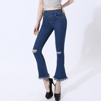 2017 New Fashion Ladies Casual Stretch Denim Jeans Leggings Jeggings Holes Pants speaker Skinny Leggings Jeans Womens Clothing