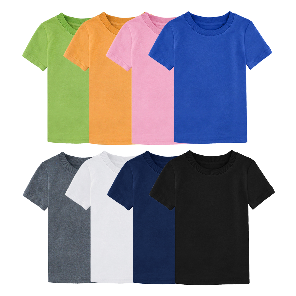 Little Boys Girls Solid Color Short Sleeve Shirts T-Shirts