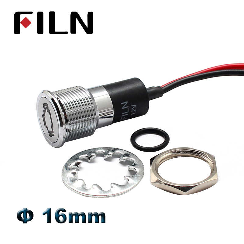 16mm led metall anzeige licht pilot lampe mit auto boot dashboard warnung symbol 12v 24v 110v 220v rot grün anzeige lampe