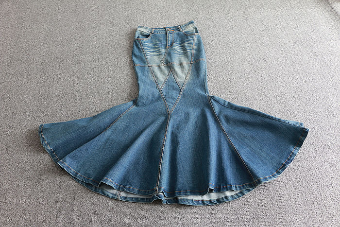 Image 4 - Big Fish Tail Denim Skirt Women Long Skirt Floor Length Patchwork Mermaid Trumpet Empire High Waist Jeans Stretchy J92792-in Skirts from Women's Clothing