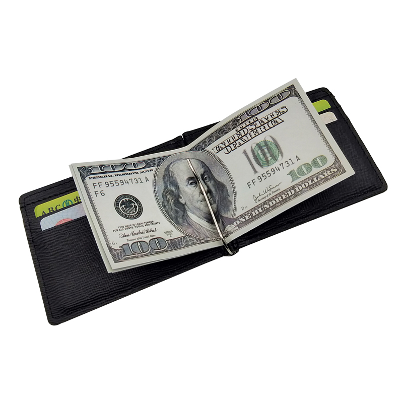 New Arrival Slim Men's Leather Money Clip Wallet With Credit Card Slots Small Male Clamp Male Purse Mini Designer Cash Holder