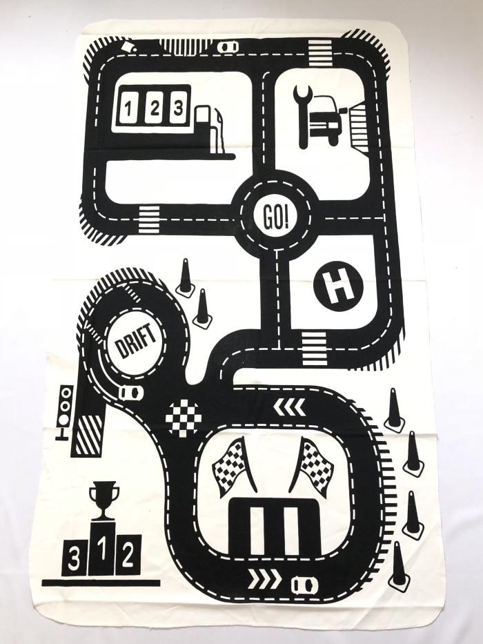 Дорожный детский игровой коврик 2 дизайна, игровой коврик для ползания, хлопковый холщовый коврик для лазания в скандинавском стиле - Цвет: Car track