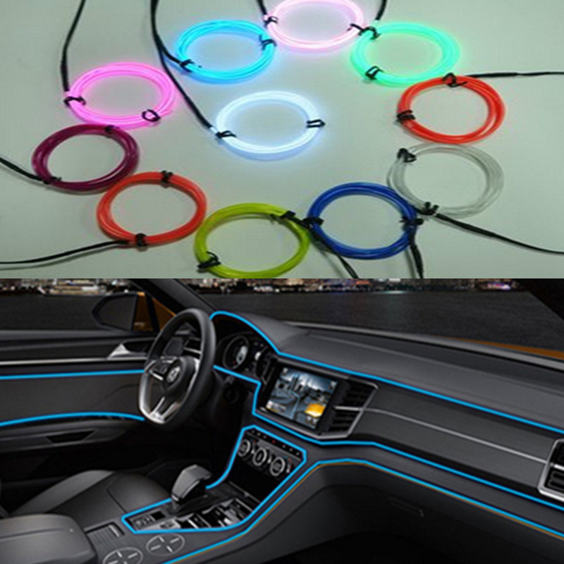 For Mercedes Toyota Chevrolet Fiat Ford Hyundai BMW VW 2M Auto Car Interior <font><b>LED</b></font> EL Wire Rope Tube Line flexible neon light glow image