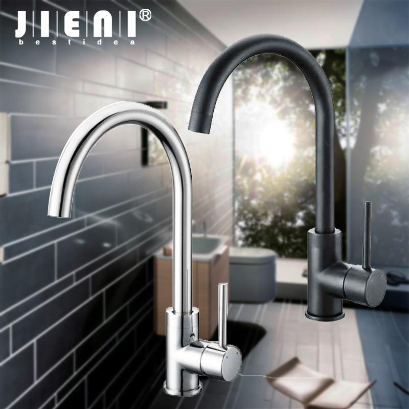 Black ORB Swivel Kitchen Faucet hot & cold Basin Mixer Tap Chrome Rotated single lever brass Polished kitchen faucet sink mixer micoe hot and cold water basin faucet mixer single handle single hole modern style chrome tap square multi function m hc203