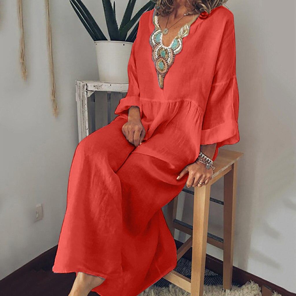 €7.58 41% СКИДКА|Женское длинное платье из хлопка и льна на пуговицах, повседневное пляжное платье в горошек с длинным рукавом, 2019|Платья| |  - AliExpress