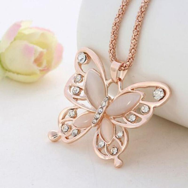 New Charm Rhinestone Fashion Womens Lady Rose Gold Opal Butterfly ...