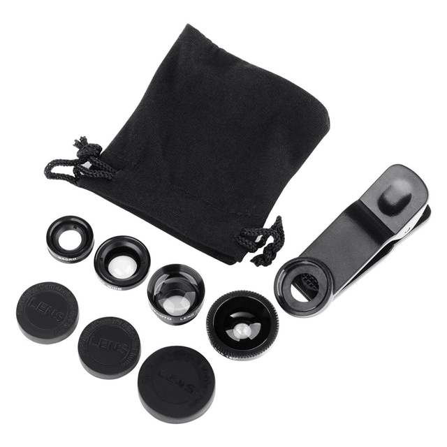 4 in 1 camera lens kit 2X telephoto lens +180 Fisheye Fish eye + Macro + 0.67X Wide angle Lens for iphone 6 Samsung HTC CL-85-2X 3