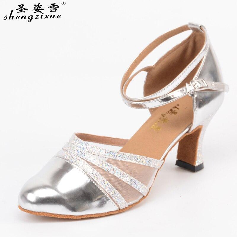 Shengzixuebrand Women's Dance Shoes Closed Pointed Toe Latin Ballroom Salsa Dancing Shoes For Girls Closed Toe Latin Dance Shoes