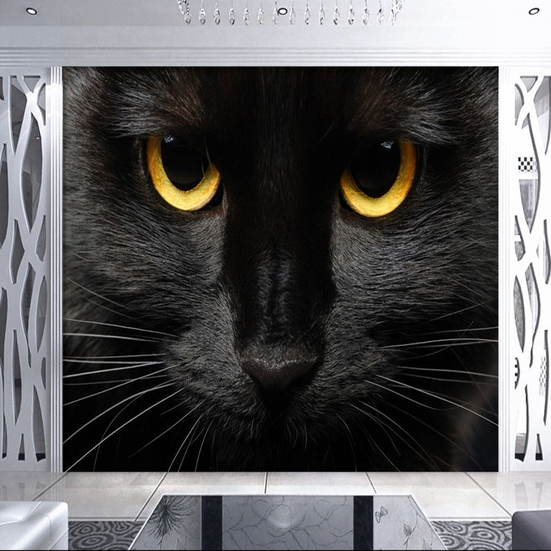 Custom Photo Wallpaper Custom Black Cat Golden Pupil Mural Animal