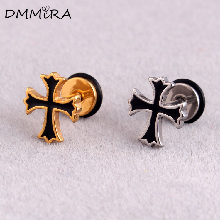 Fashion Punk Men Simple Vintage Silver Gold Cross Stainless Steel Jesus Cross Oil Drip Stud Earrings Brincos Jewelry