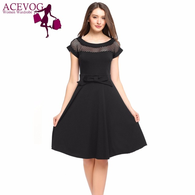 ACEVOG Women Vintage Dress Summer 50s Short Sleeve Hollow Out Party Dresses  Bow Belt Cocktail Skater Brand Feminino Vestidos 50e8f3e96