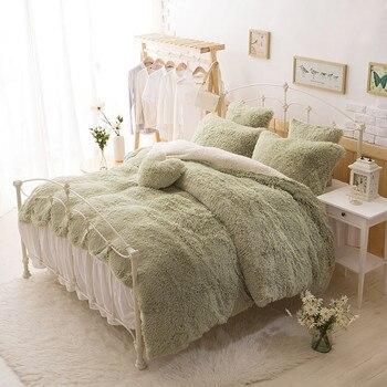 Green Gray Brown Pink White Blue Princess Girls Bedding set Thick Fleece Warm Winter Bed set Duvet cover Bed Skirt Pillowcases фото